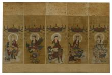 FIVE HANGING SCROLLS DEPICTING DIFFERENT GODS ON ANIMALS.