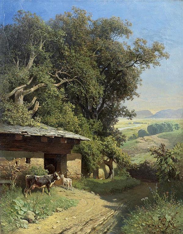 *HABENSCHADEN, SEBASTIAN (1813 München 1868), zugeschrieben Landschaft mit Stall und Weg. Öl auf Leinwand. 54 x 43 cm.