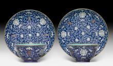 TWO BLUE-GROUND PLATES AND BOWLS WITH AUSPICIOUS BATS AND SHOU CHARACTERS.