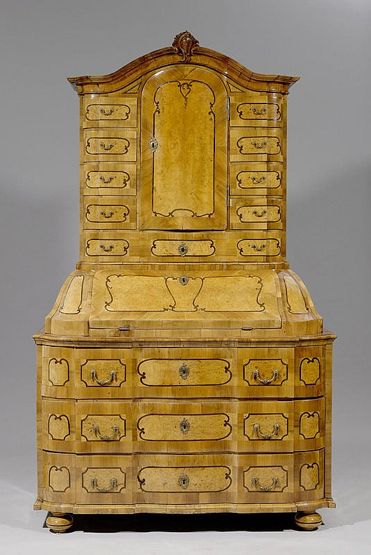 BUREAU CABINET,Baroque, South German. Walnut and
