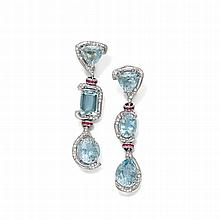 AQUAMARINE, DIAMOND AND RUBY EAR PENDANTS.White