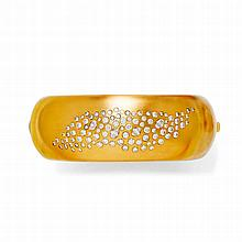 DIAMOND BANGLE.Yellow gold 750, 194g.Attractive,