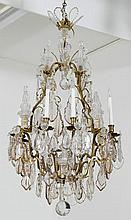 A LARGE CRYSTAL GLASS CHANDELIER, Baroque style,
