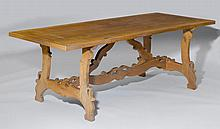 A WALNUT TABLE,Baroque style, Italy, partly made