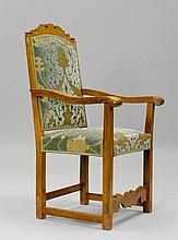 A BAROQUE ARMCHAIR, Germany. Walnut and oak,