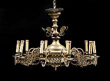 A LARGE BRONZE CHANDELIER, Baroque style, East
