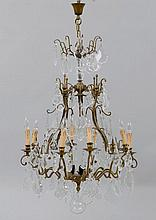 A CHANDELIER WITH CRYSTAL GLASS DRAPES,Baroque