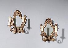 A PAIR OF MIRROR APPLIQUES, Baroque style. Wood