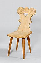 A SMALL RUSTIC CHAIR,Grisons, 19th century. Carved