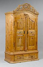 A SMALL CARVED SWISSPINE ARMOIRE,Austria, Tirol.