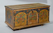 A PAINTED CHEST, Alpine region, 19th century. Pine
