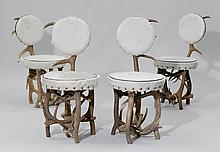 A SUITE OF 4 CHAIRS,Alpine region. Antlers and