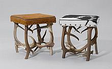 2 ANTLER STOOLS,Alpine region. Grey/white resp.