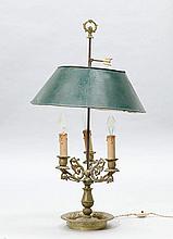BOUILLOTE LAMP, Restoration, France.Gilt bronze.