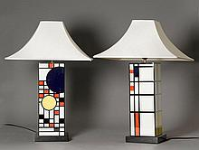 PAIR OF TABLE LAMPS,in the style of Piet Mondrian,