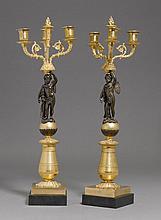 PAIR OF GIRANDOLES,2nd Empire, France.Gilt bronze