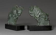 BOOKENDS DESIGNED AS A RAM,late Art Deco, France,