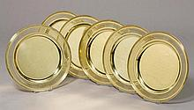 SET OF 6 PLATES,Italy, 20th century.Silver-gilt.