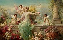 ZATZKA, HANS(1859 Vienna 1945)Flora.Oil on canvas.