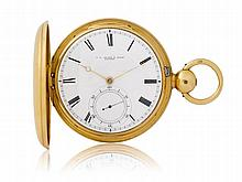 ADAMS & SONS LONDON, HEAVY PRECISION POCKET WATCH, ca. 1830.Yellow gold 750.Large