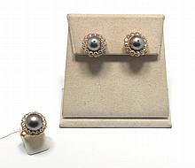 PEARL AND DIAMOND EAR CLIPS WITH RING, VAN CLEEF &