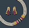 SAPPHIRE, RUBY, DIAMOND AND PEARL NECKLACE WITH