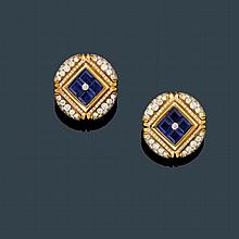 SAPPHIRE AND DIAMOND EAR CLIPS, BULGARI.Yellow