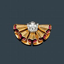 RUBY AND DIAMOND CLIP BROOCH, RENÉ BOIVIN, ca.
