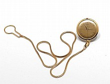 POCKET WATCH WITH CHAIN, CORUM, 1970s.Yellow gold