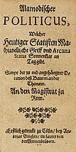 BAROCK-LITERATUR - Burgerlicher Hoffman. Mit gest.