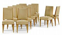 JACQUES ADNET(1900 - 1984)SET OF 12 CHAIRSAsh and