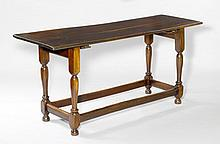 REFECTORY TABLE,Italy, 18th century.Wood, stained dark. Rectangular top. Turned legs.