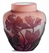 EMILE GALLEVASE, c. 1900Pink glass overlaid in