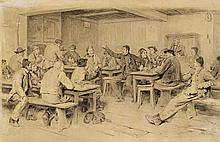 ANKER, ALBERT(1831 Ins 1910)At the inn.Watercolour