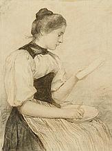 ANKER, ALBERT(1831 Ins 1910)Recto: girl cutting an