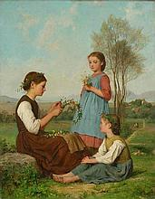 ANKER, ALBERT(1831 Ins 1910)Three girls making
