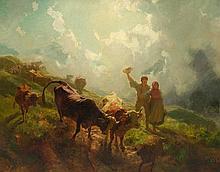 KOLLER, RUDOLF(1828 Zurich 1905)Der Alpabzug.
