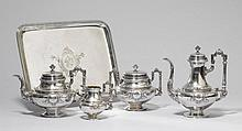 COFFEE AND TEA SERVICE,France, 19th century. Maker's mark: HS.Comprising: coffee pot,