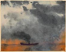 NOLDE, EMIL(Nolde 1867 - 1956 Seebüll)Dampfer.