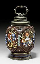 EARTHENWARE BOTTLE WITH ENAMEL DECORATION,