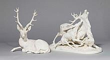 2 GROUPS OF DEER, Nymphenburg, 20th