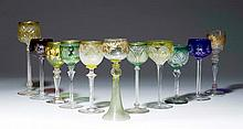 LOT OF 11 DECORATIVE GLASS CHALICES, Bohemia and
