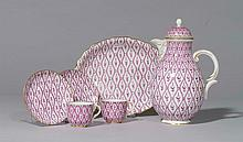 COFFEE SERVICE WITH PURPLE TEXTILE DECORATION,