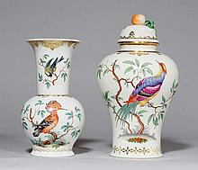 2 VASES DECORATED WITH BIRDS, Nymphenburg, 20th