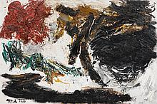 KAREL APPEL1921 - 2006Paysage noir. 1960.Oil on