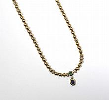 SAPPHIRE, EMERALD AND DIAMOND NECKLACE.Yellow gold