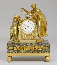 KAMINPENDULE, 2. Empire, Paris, 19. Jh.Bronze und