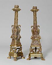 1 PAAR KERZENSTÖCKE, Empire-Stil.Bronze. Schaft in