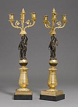 PAIR OF GIRANDOLES,2nd Empire, France.Gilt bronze