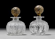 1 PAAR FLAKONS, um 1900.Klares, geschliffenes Glas
